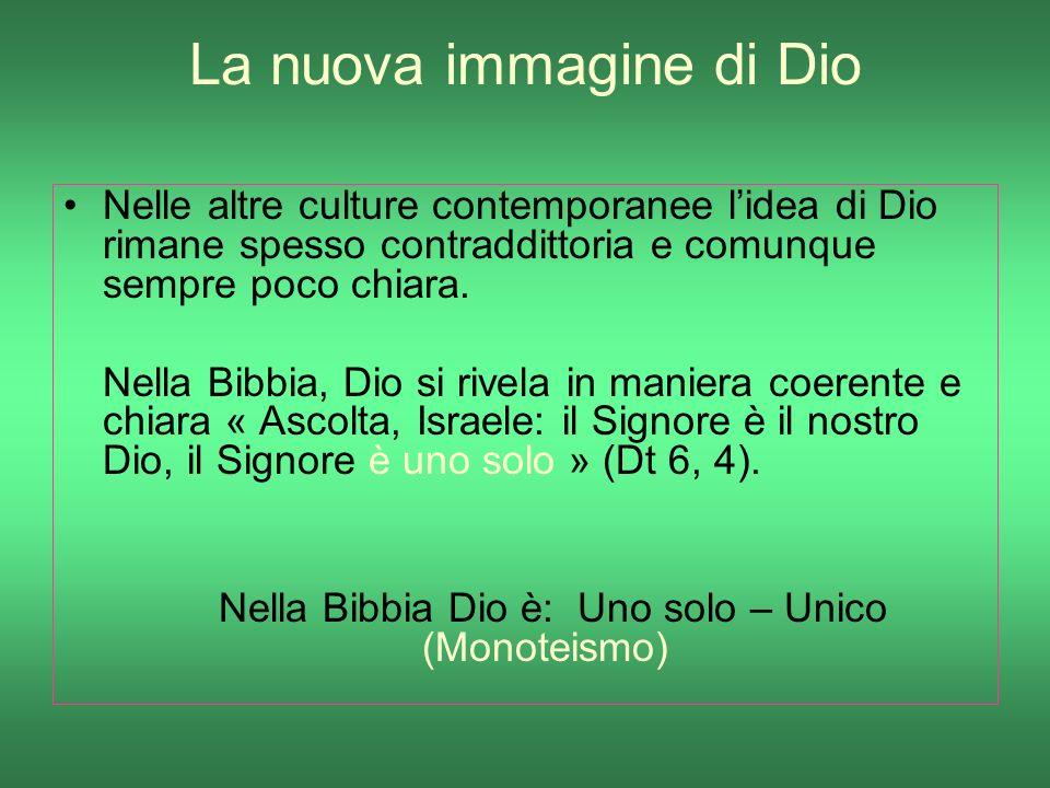 La nuova immagine di Dio Nelle altre culture contemporanee lidea di Dio rimane spesso contraddittoria e comunque sempre poco chiara. Nella Bibbia, Dio