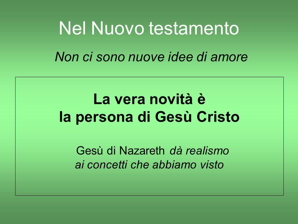 Nel Nuovo testamento La vera novità è la persona di Gesù Cristo Gesù di Nazareth dà realismo ai concetti che abbiamo visto Non ci sono nuove idee di a