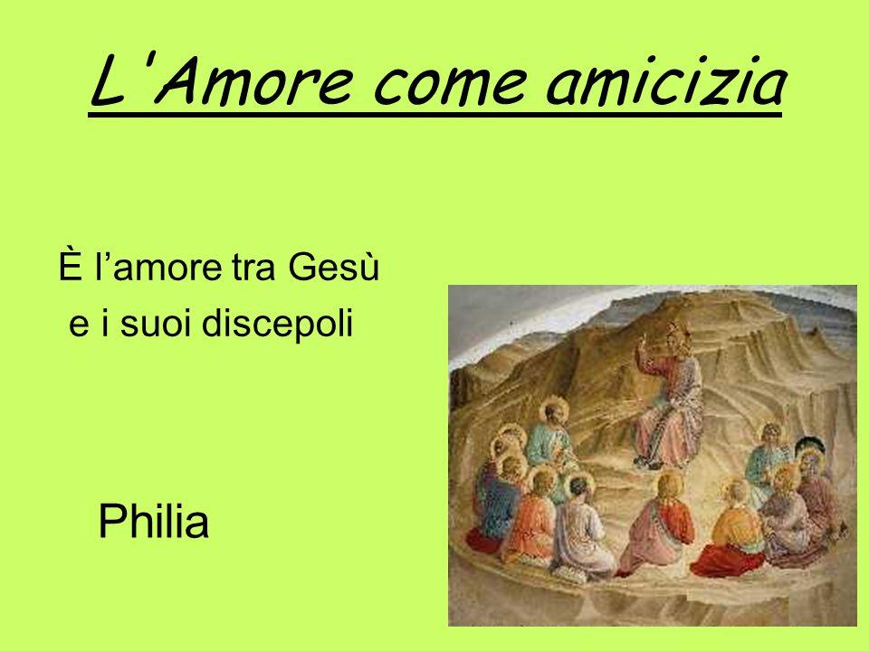 L'Amore come amicizia È lamore tra Gesù e i suoi discepoli Philia