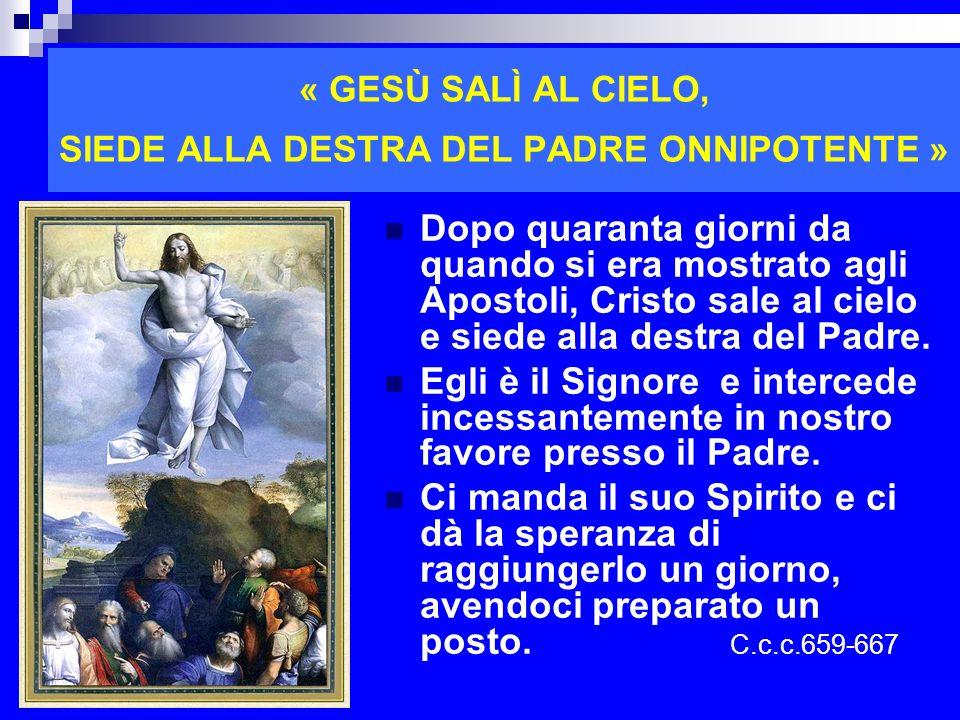 « GESÙ SALÌ AL CIELO, SIEDE ALLA DESTRA DEL PADRE ONNIPOTENTE » Dopo quaranta giorni da quando si era mostrato agli Apostoli, Cristo sale al cielo e s