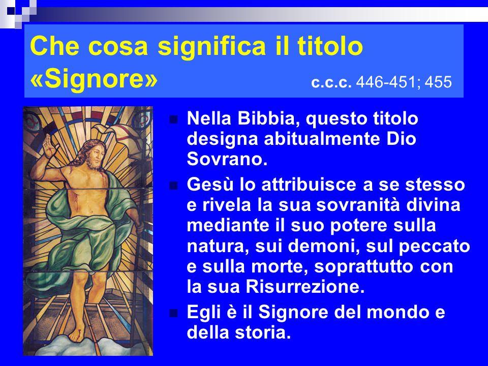 Che cosa significa il titolo «Signore» c.c.c. 446-451; 455 Nella Bibbia, questo titolo designa abitualmente Dio Sovrano. Gesù lo attribuisce a se stes