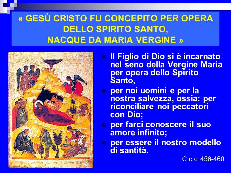 « GESÙ CRISTO FU CONCEPITO PER OPERA DELLO SPIRITO SANTO, NACQUE DA MARIA VERGINE » Il Figlio di Dio si è incarnato nel seno della Vergine Maria per o