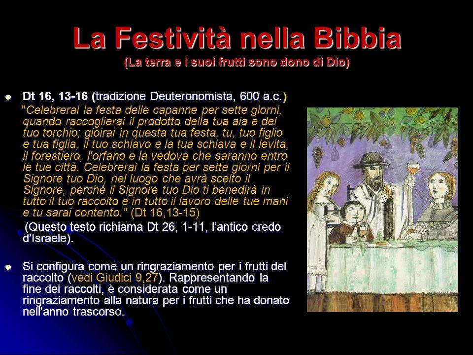 La Festività nella Bibbia (La terra e i suoi frutti sono dono di Dio) Dt 16, 13-16 (tradizione Deuteronomista, 600 a.c.) Dt 16, 13-16 (tradizione Deut