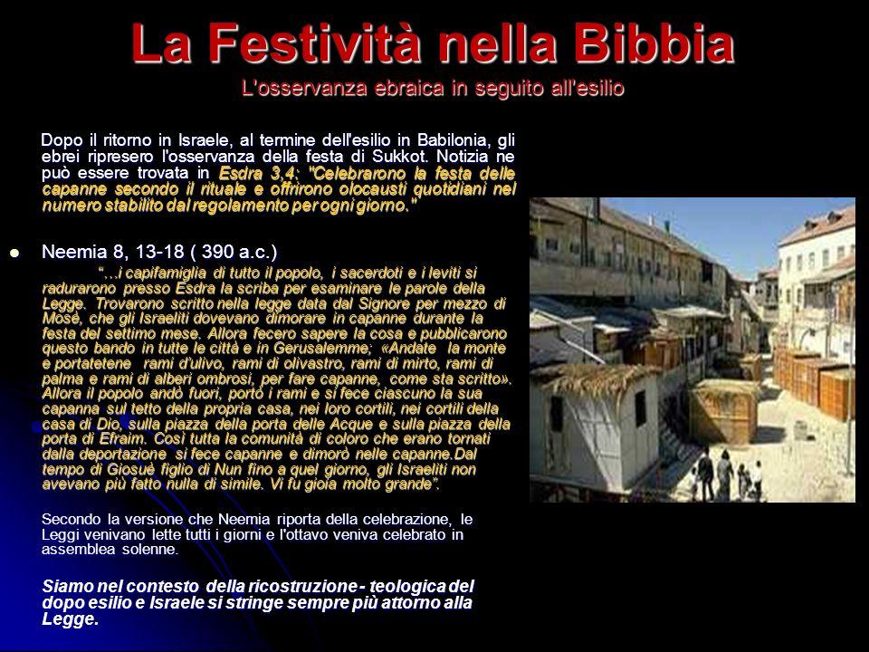 La Festività nella Bibbia L'osservanza ebraica in seguito all'esilio Dopo il ritorno in Israele, al termine dell'esilio in Babilonia, gli ebrei ripres
