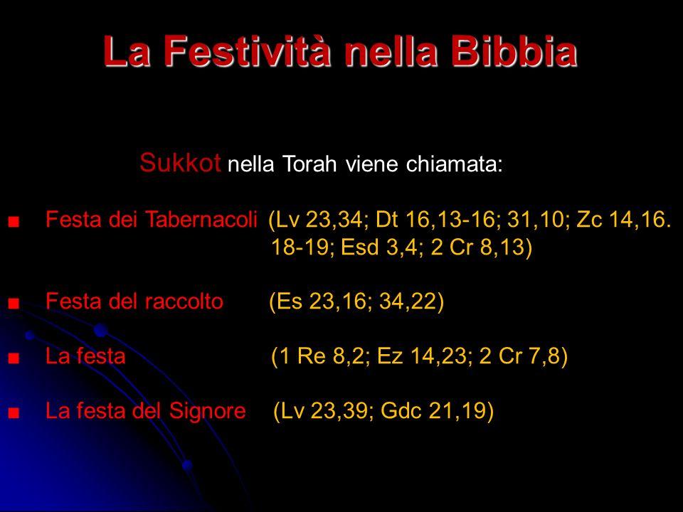 La Festività nella Bibbia Sukkot nella Torah viene chiamata: Festa dei Tabernacoli (Lv 23,34; Dt 16,13-16; 31,10; Zc 14,16. 18-19; Esd 3,4; 2 Cr 8,13)