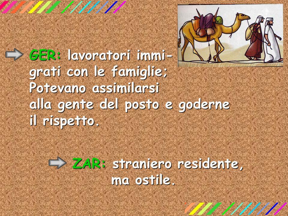 GER: lavoratori immi- grati con le famiglie; Potevano assimilarsi alla gente del posto e goderne il rispetto. ZAR: straniero residente, ma ostile.
