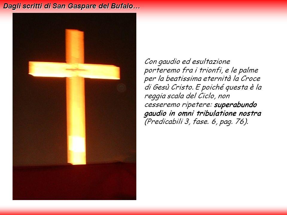 Con gaudio ed esultazione porteremo fra i trionfi, e le palme per la beatissima eternità la Croce di Gesù Cristo.