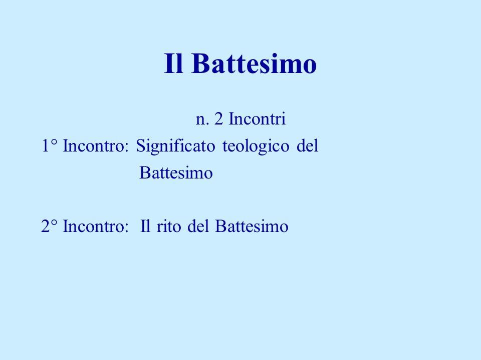n. 2 Incontri 1° Incontro: Significato teologico del Battesimo 2° Incontro: Il rito del Battesimo