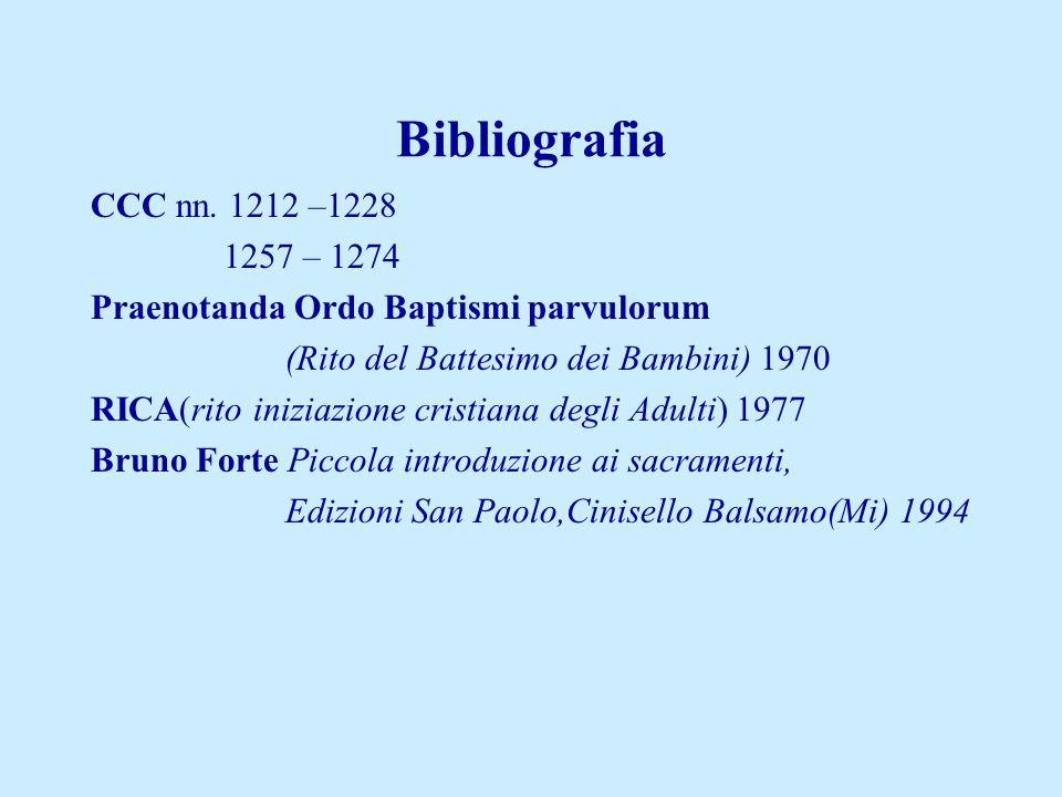 Bibliografia CCC nn. 1212 –1228 1257 – 1274 Praenotanda Ordo Baptismi parvulorum (Rito del Battesimo dei Bambini) 1970 RICA(rito iniziazione cristiana