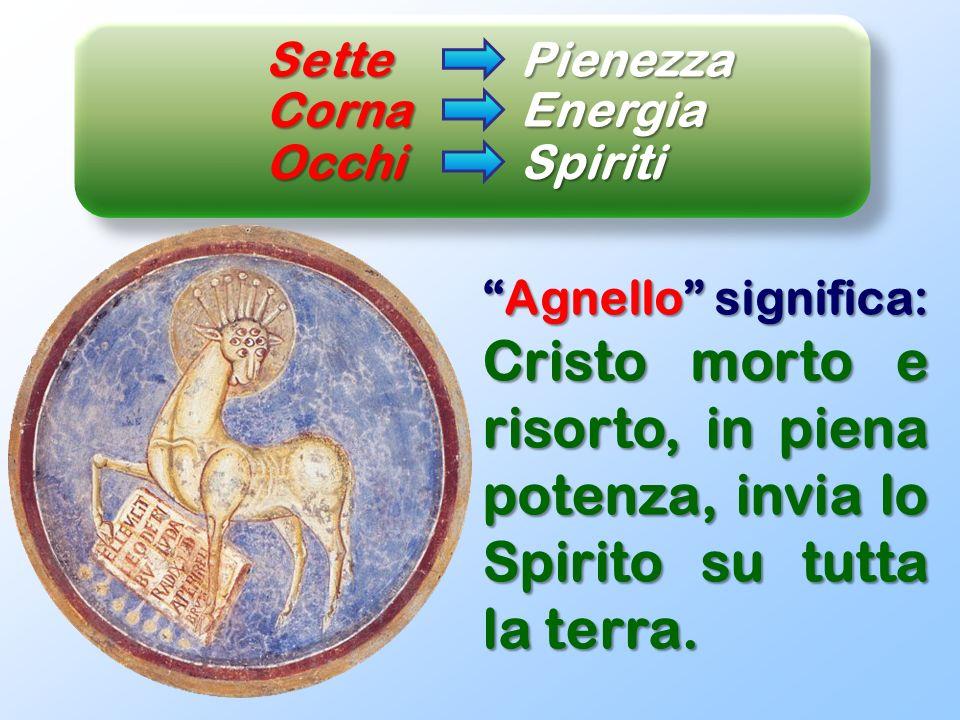 SettePienezza Agnello significa:Agnello significa: Cristo morto e risorto, in piena potenza, invia lo Spirito su tutta la terra. Corna Energia OcchiSp