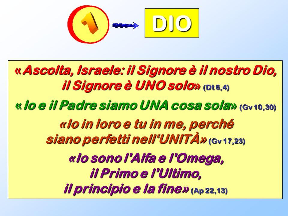DIO «Ascolta, Israele: il Signore è il nostro Dio, il Signore è UNO solo» (Dt 6,4) «Io e il Padre siamo UNA cosa sola» (Gv 10,30) «Io in loro e tu in