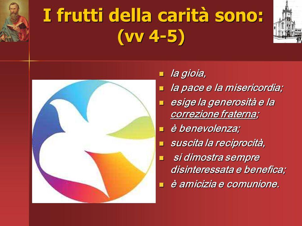 I frutti della carità sono: (vv 4-5) I frutti della carità sono: (vv 4-5) la gioia, la gioia, la pace e la misericordia; la pace e la misericordia; es