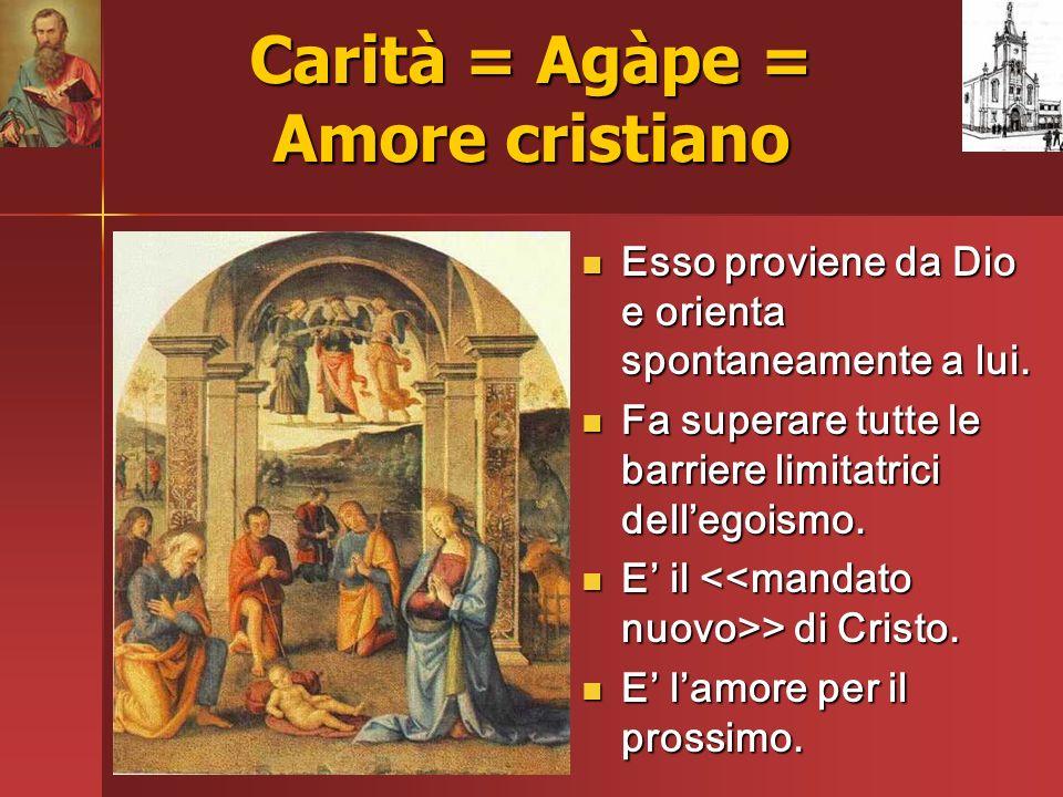Carità = Agàpe = Amore cristiano Esso proviene da Dio e orienta spontaneamente a lui. Esso proviene da Dio e orienta spontaneamente a lui. Fa superare
