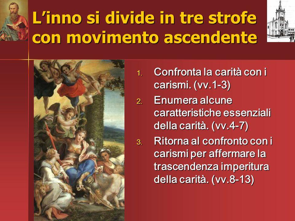 Linno si divide in tre strofe con movimento ascendente 1. Confronta la carità con i carismi. (vv.1-3) 2. Enumera alcune caratteristiche essenziali del