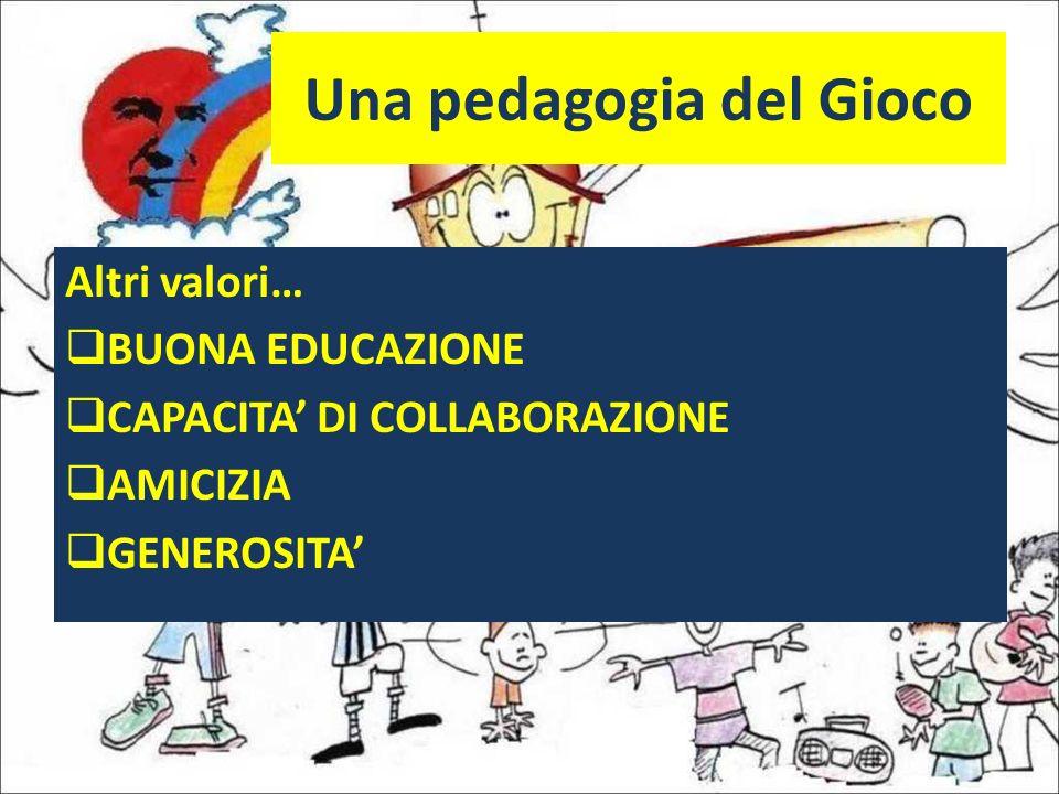 Una pedagogia del Gioco Altri valori… BUONA EDUCAZIONE CAPACITA DI COLLABORAZIONE AMICIZIA GENEROSITA