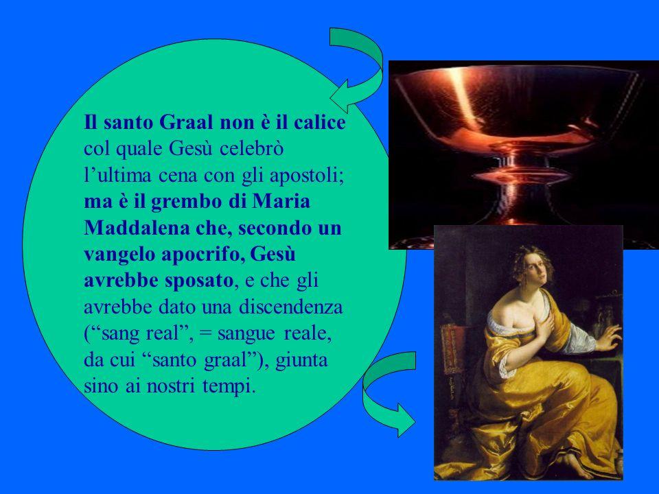 Il santo Graal non è il calice col quale Gesù celebrò lultima cena con gli apostoli; ma è il grembo di Maria Maddalena che, secondo un vangelo apocrif