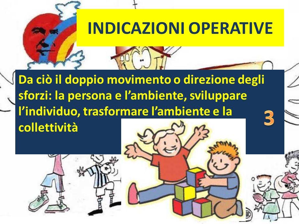 INDICAZIONI OPERATIVE Da ciò il doppio movimento o direzione degli sforzi: la persona e lambiente, sviluppare lindividuo, trasformare lambiente e la collettività
