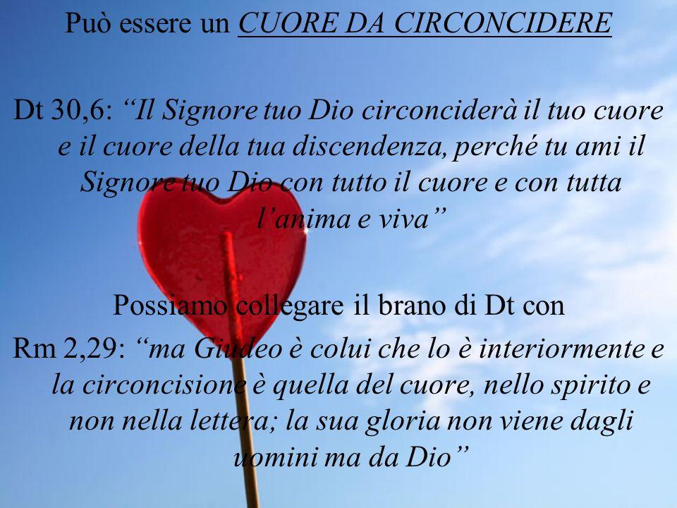 Può essere un CUORE DA CIRCONCIDERE Dt 30,6: Il Signore tuo Dio circonciderà il tuo cuore e il cuore della tua discendenza, perché tu ami il Signore t