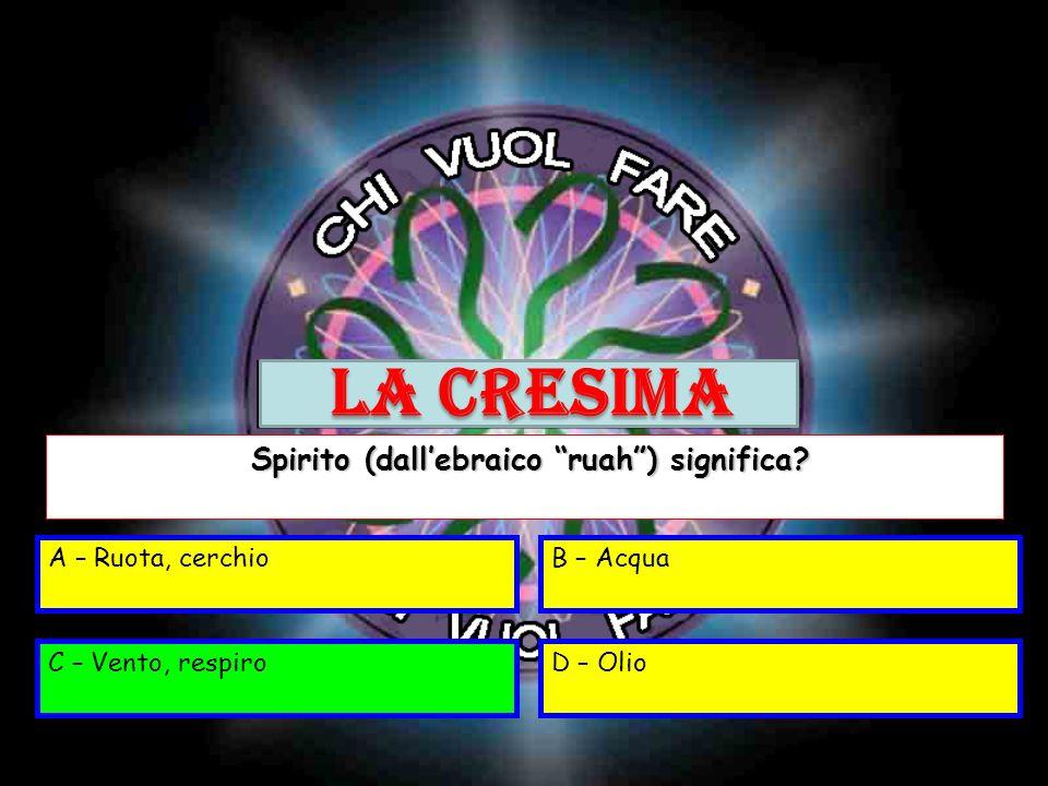 A – Ruota, cerchioB – Acqua C – Vento, respiroD – Olio Spirito (dallebraico ruah) significa? Spirito (dallebraico ruah) significa? C – Vento, respiro