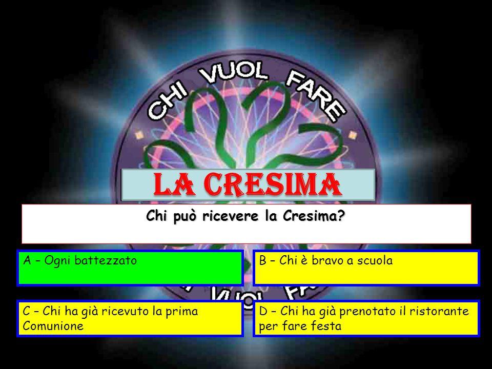 A – Segna la fine del catechismoB – Perdona i peccati C – Unisce di più a CristoD – Fa diventare tutti più amici Tra questi qualè leffetto della Cresima.
