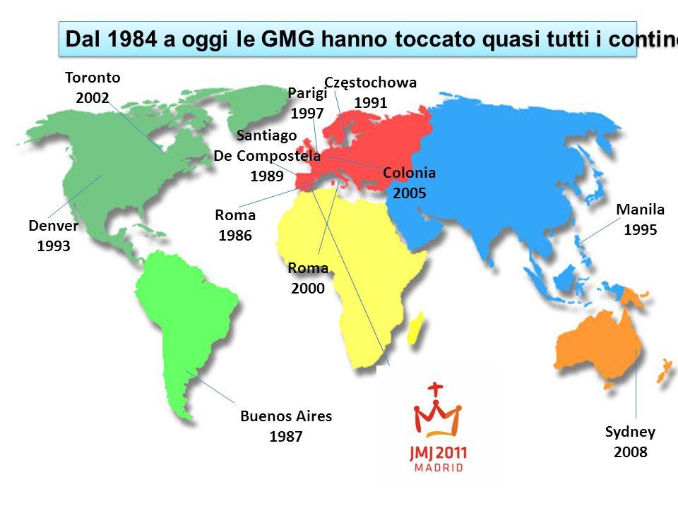 Dal 1984 a oggi le GMG hanno toccato quasi tutti i continenti Roma 1986 Santiago De Compostela 1989 Częstochowa 1991 Denver 1993 Manila 1995 Parigi 19