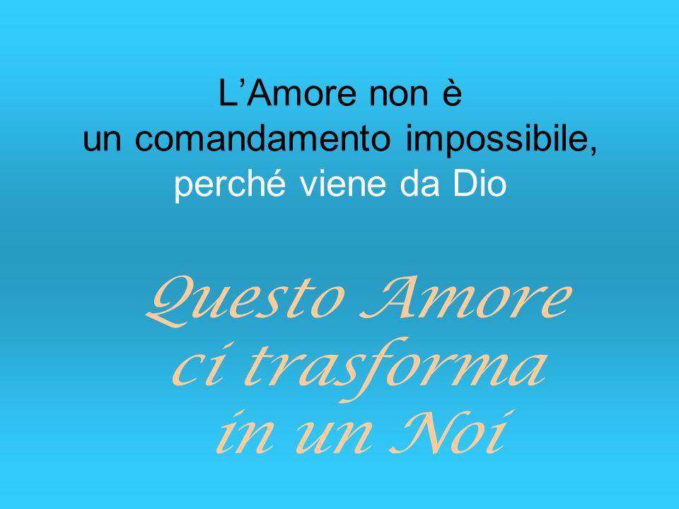 LAmore non è un comandamento impossibile, perché viene da Dio Questo Amore ci trasforma in un Noi