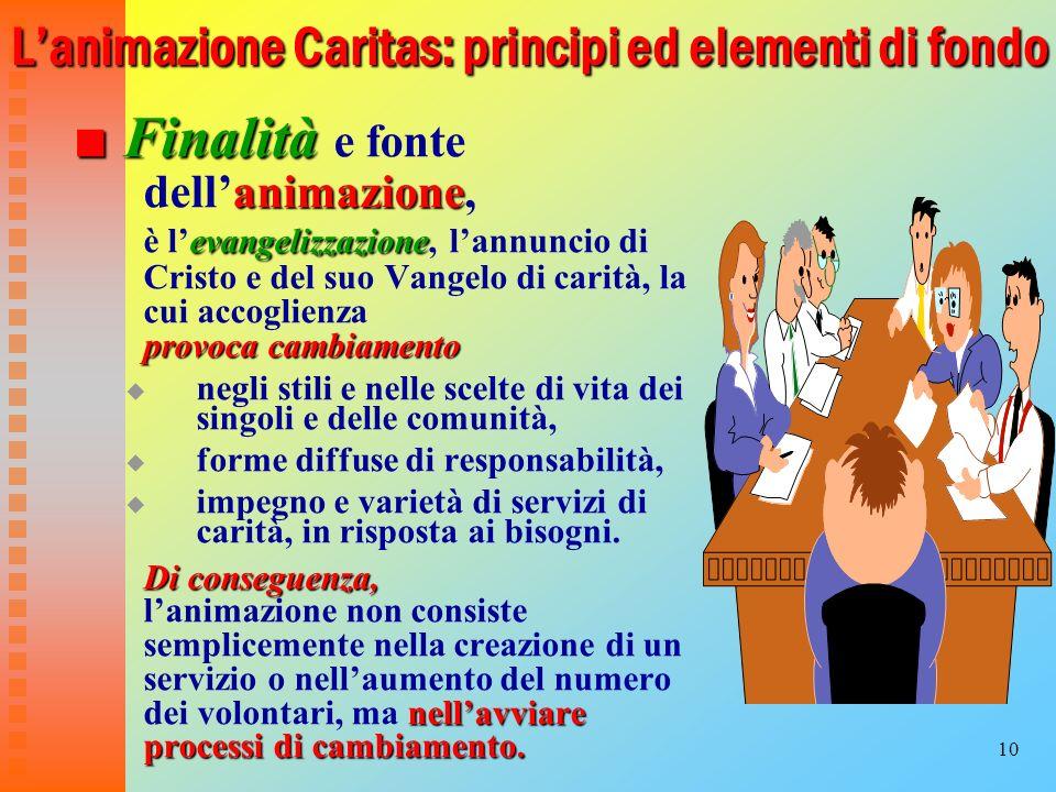 10 Lanimazione Caritas: principi ed elementi di fondo Finalità animazione Finalità e fonte dellanimazione, evangelizzazione è levangelizzazione, lannu