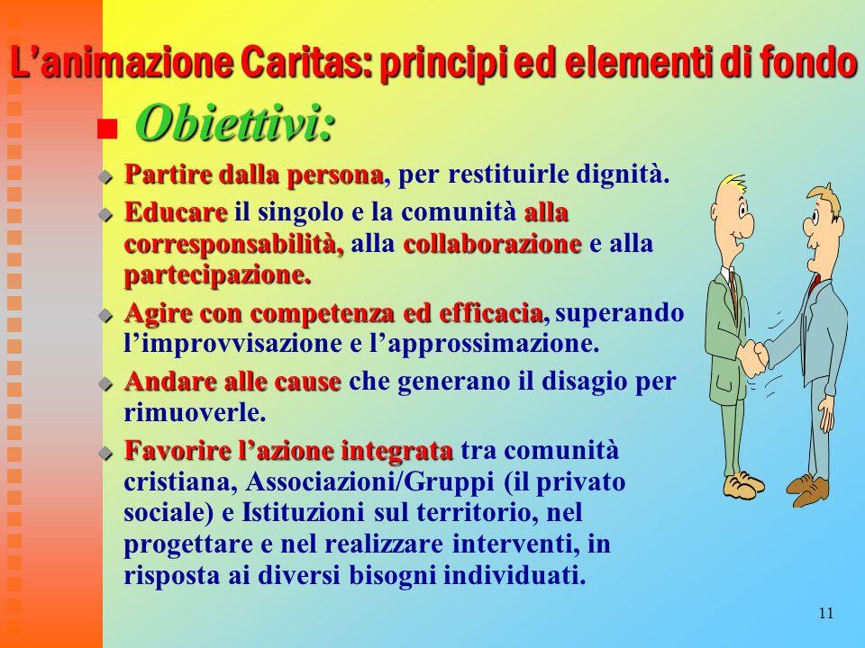 11 Lanimazione Caritas: principi ed elementi di fondo Obiettivi: Partire dalla persona Partire dalla persona, per restituirle dignità. Educarealla cor