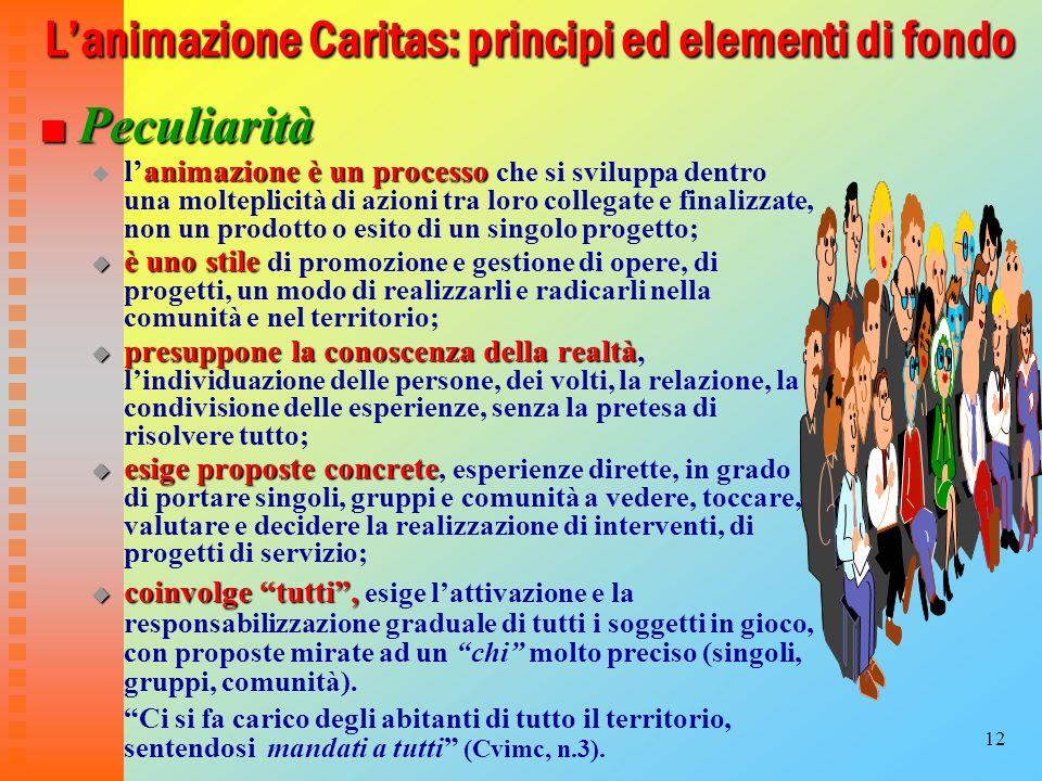 12 Lanimazione Caritas: principi ed elementi di fondo Peculiarità Peculiarità animazioneè un processo lanimazione è un processo che si sviluppa dentro