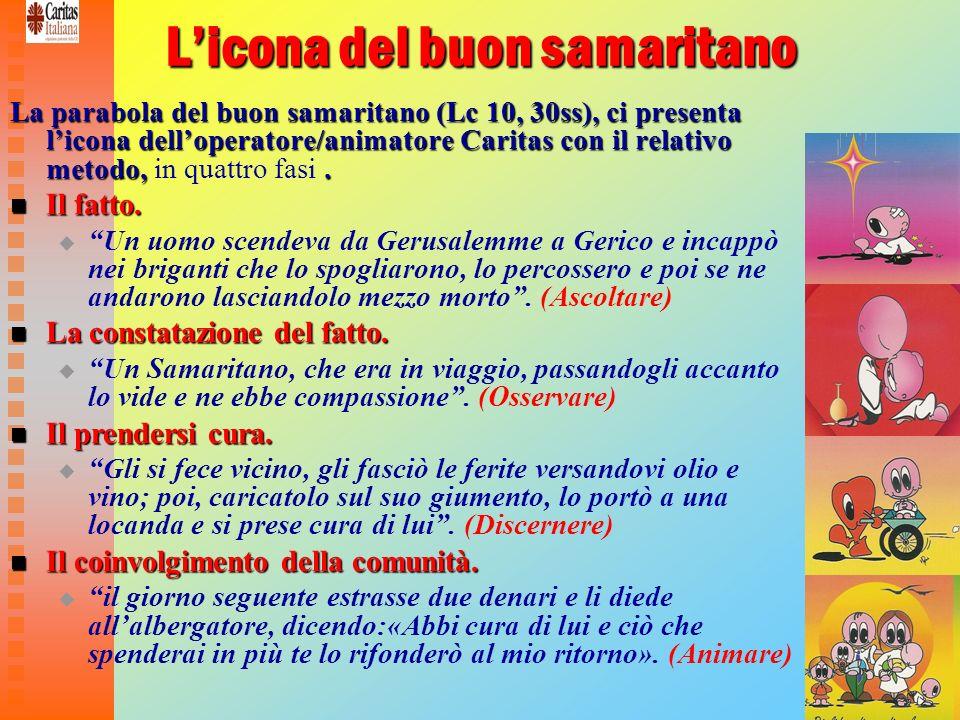 17 Licona del buon samaritano La parabola del buon samaritano (Lc 10, 30ss), ci presenta licona delloperatore/animatore Caritas con il relativo metodo