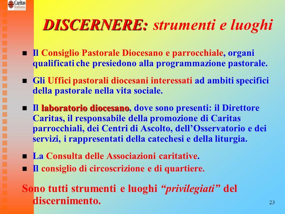 23 DISCERNERE: DISCERNERE: strumenti e luoghi Il Consiglio Pastorale Diocesano e parrocchiale, organi qualificati che presiedono alla programmazione p