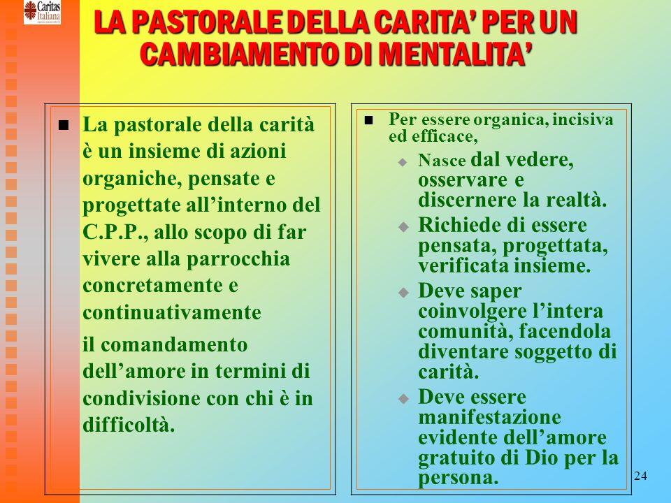 24 LA PASTORALE DELLA CARITA PER UN CAMBIAMENTO DI MENTALITA La pastorale della carità è un insieme di azioni organiche, pensate e progettate allinter