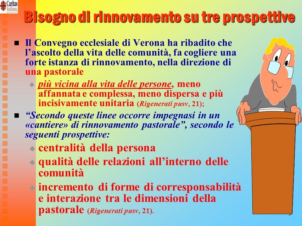 9 Bisogno di rinnovamento su tre prospettive Il Convegno ecclesiale di Verona ha ribadito che lascolto della vita delle comunità, fa cogliere una fort