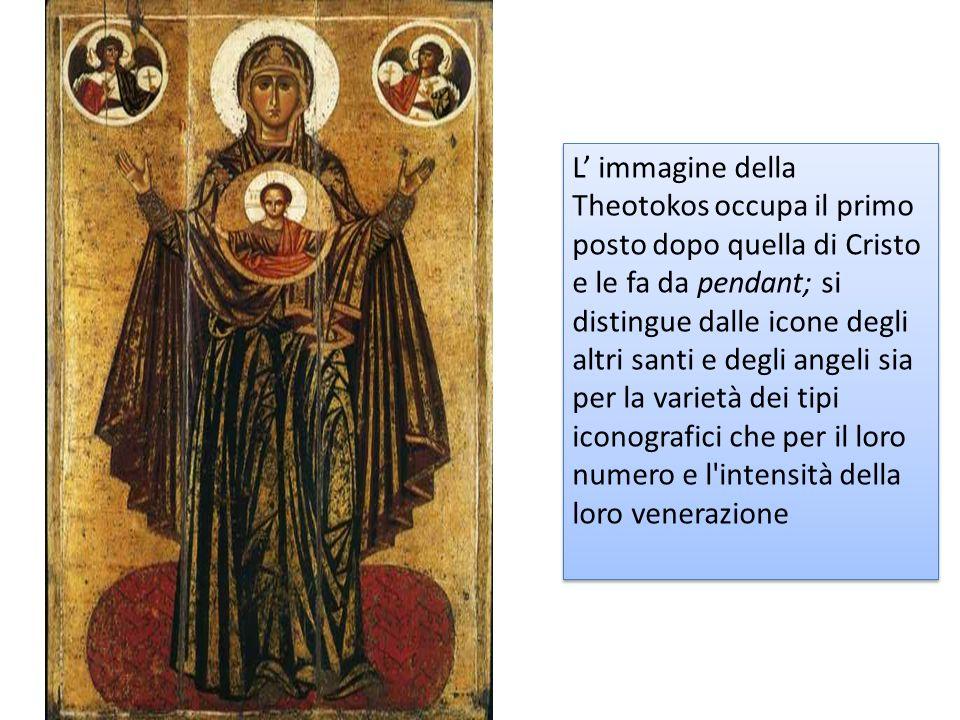 L immagine della Theotokos occupa il primo posto dopo quella di Cristo e le fa da pendant; si distingue dalle icone degli altri santi e degli angeli sia per la varietà dei tipi iconografici che per il loro numero e l intensità della loro venerazione