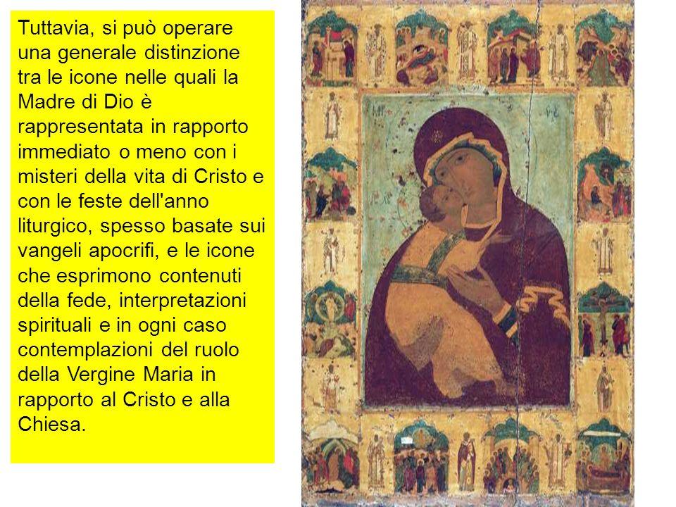 Tuttavia, si può operare una generale distinzione tra le icone nelle quali la Madre di Dio è rappresentata in rapporto immediato o meno con i misteri
