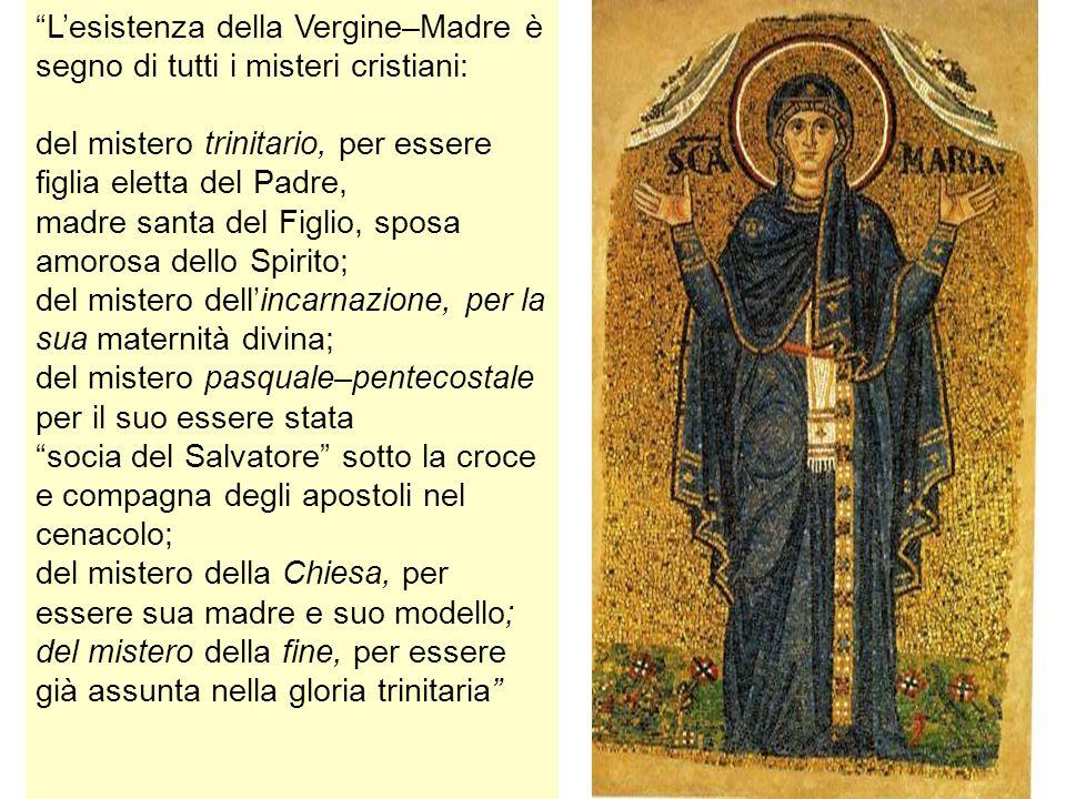 Lesistenza della Vergine–Madre è segno di tutti i misteri cristiani: del mistero trinitario, per essere figlia eletta del Padre, madre santa del Figli