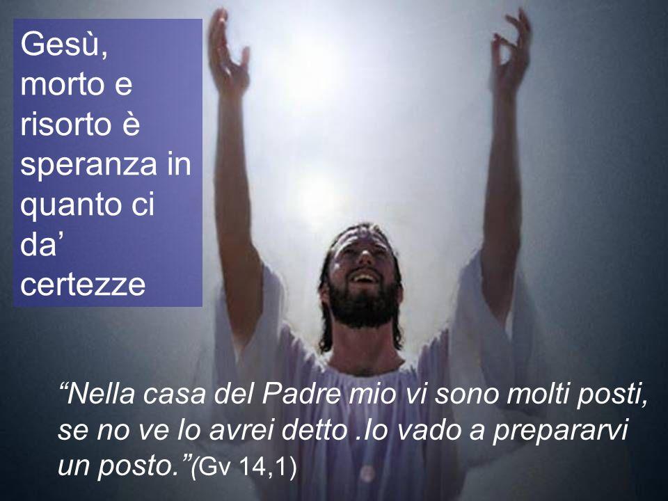 Gesù, morto e risorto è speranza in quanto ci da certezze Nella casa del Padre mio vi sono molti posti, se no ve lo avrei detto.Io vado a prepararvi u