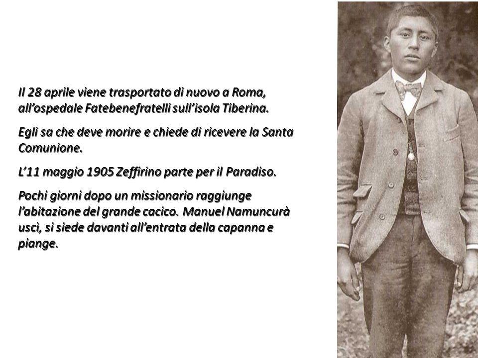 Il 28 aprile viene trasportato di nuovo a Roma, allospedale Fatebenefratelli sullisola Tiberina. Egli sa che deve morire e chiede di ricevere la Santa