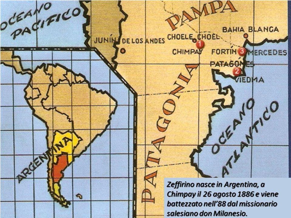 Zeffirino nasce in Argentina, a Chimpay il 26 agosto 1886 e viene battezzato nell88 dal missionario salesiano don Milanesio.