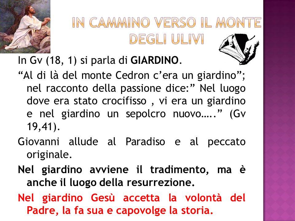 In Gv (18, 1) si parla di GIARDINO. Al di là del monte Cedron cera un giardino; nel racconto della passione dice: Nel luogo dove era stato crocifisso,