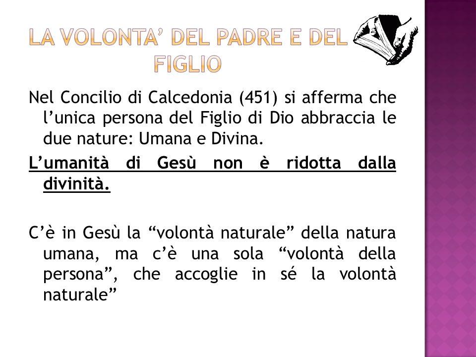 Nel Concilio di Calcedonia (451) si afferma che lunica persona del Figlio di Dio abbraccia le due nature: Umana e Divina. Lumanità di Gesù non è ridot