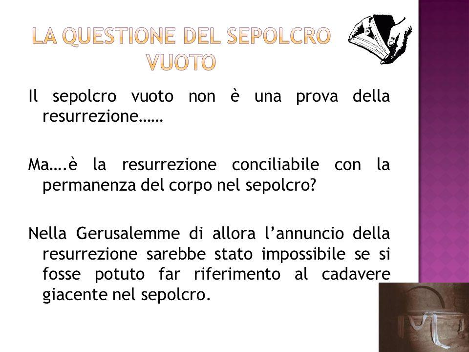 Il sepolcro vuoto non è una prova della resurrezione…… Ma….è la resurrezione conciliabile con la permanenza del corpo nel sepolcro? Nella Gerusalemme