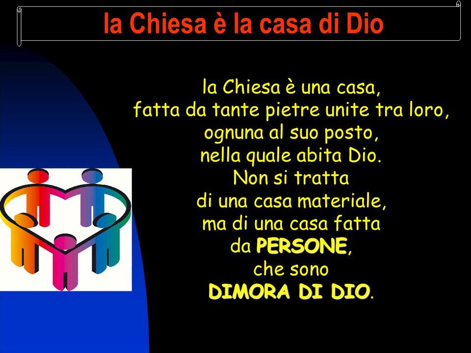la Chiesa è la casa di Dio la Chiesa è una casa, fatta da tante pietre unite tra loro, ognuna al suo posto, nella quale abita Dio.