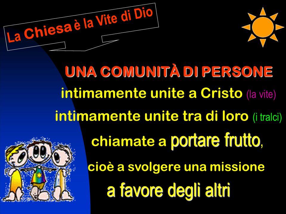 La Chiesa è la Vite di Dio UNA COMUNITÀ DI PERSONE intimamente unite a Cristo (la vite) intimamente unite tra di loro (i tralci) portare frutto chiamate a portare frutto, cioè a svolgere una missione a favore degli altri