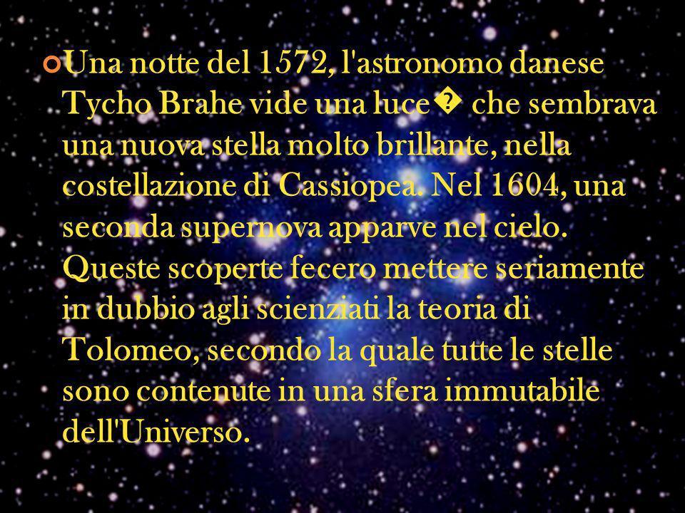 Una notte del 1572, l'astronomo danese Tycho Brahe vide una luce che sembrava una nuova stella molto brillante, nella costellazione di Cassiopea. Nel