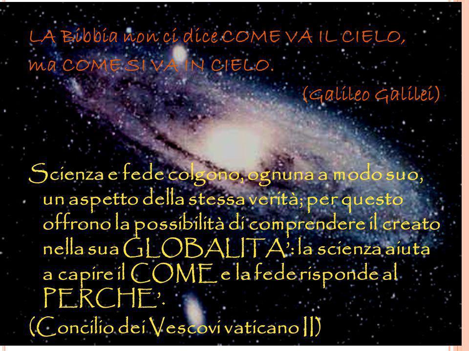 LA Bibbia non ci dice COME VA IL CIELO, ma COME SI VA IN CIELO. (Galileo Galilei) Scienza e fede colgono, ognuna a modo suo, un aspetto della stessa v