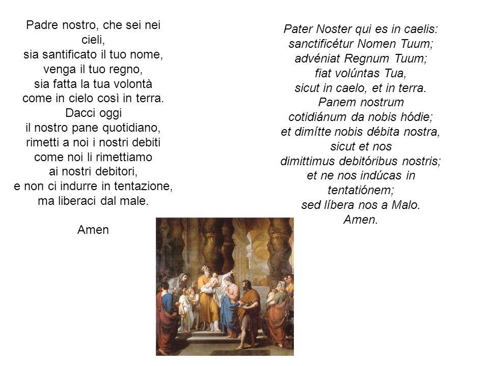 Padre nostro, che sei nei cieli, sia santificato il tuo nome, venga il tuo regno, sia fatta la tua volontà come in cielo così in terra. Dacci oggi il
