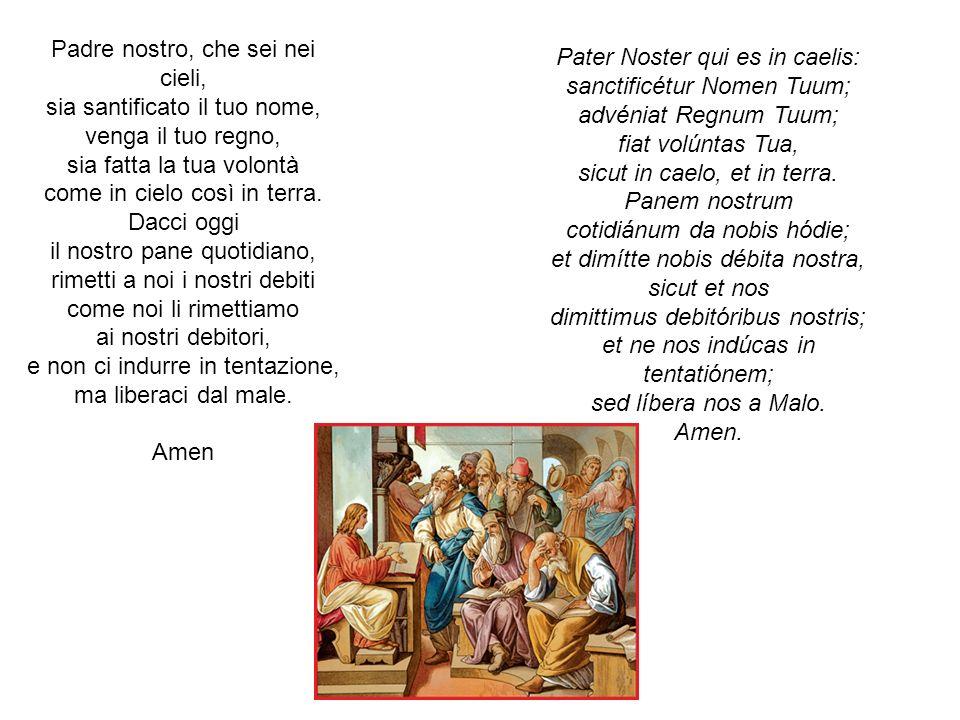 Padre nostro, che sei nei cieli, sia santificato il tuo nome, venga il tuo regno, sia fatta la tua volontà come in cielo così in terra.