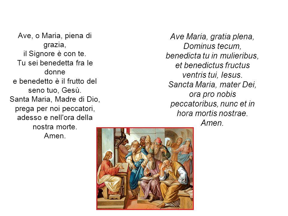 Ave, o Maria, piena di grazia, il Signore è con te. Tu sei benedetta fra le donne e benedetto è il frutto del seno tuo, Gesù. Santa Maria, Madre di Di