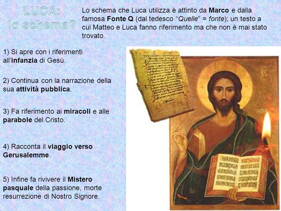 Lo schema che Luca utilizza è attinto da Marco e dalla famosa Fonte Q (dal tedesco Quelle = fonte); un testo a cui Matteo e Luca fanno riferimento ma